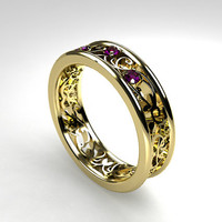 Amethyst ring, filigree wedding ring, purple, yellow gold, white gold, amethyst engagement, lace ring, vintage style, filigree engagement