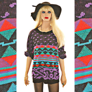 Geometric Print Cosby Sweater Oversized Vintage Psychedelic