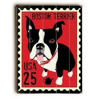 Boston Terrier Postage Stamp by Artist Ginger Oliphant Wood Sign