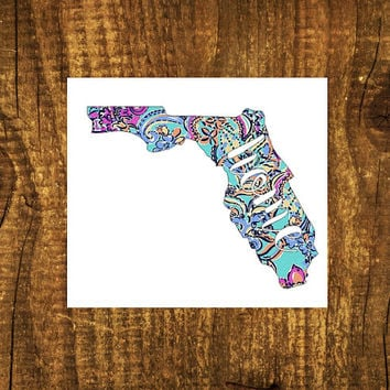 LILLY PULITZER Florida Home Decal | Florida State Decal | Homestate Decals | Love Sticker | Love Decal | Car Stickers | Bumper | 101