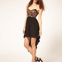 Reverse | Reverse Dress with Leopard PVC Bustier and Hi Low Hem at ASOS