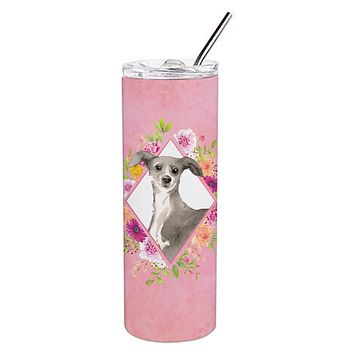 Italian Greyhound Pink Flowers Double Walled Stainless Steel 20 oz Skinny Tumbler CK4230TBL20
