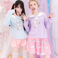 Japanese kawaii sailor collar cartoon rabbit fleece pullover