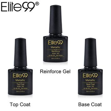 Elite99 10ml Metallic Top Coat Base Coat Manicure Soak Off UV LED Reinforce Gel Lacquer 3pcs Long Lasting Nail Gel Polish