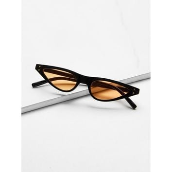 Cat Eye Flat Lens Sunglasses