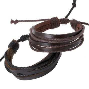 Simple Multiple Band Leather Bracelet