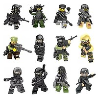 12pcs Army Minifigures SWAT Team with Military Weapons Accessories Policeman Soldier Minifigures Toys Building Blocks 100%Compatible
