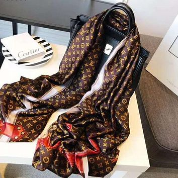 Louis Vuitton LV Retro Women Silk Scarf Silk Kerchief Cape Scarf Scarves Shawl Coffee