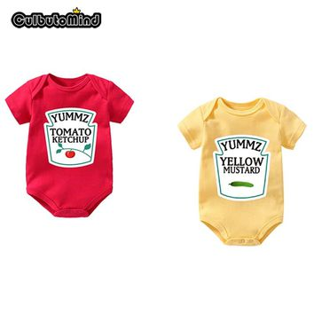 Culbutomind Yummz Tomato Ketchup Yellow Mustard Red and Yellow Bodysuit Baby Boy Twins Baby Clothes