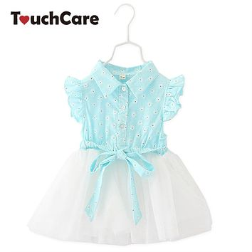 Bow knot Baby Christening Dress Flying Sleeve Baby Girl Dress Lace Mesh Baby Princess Dress