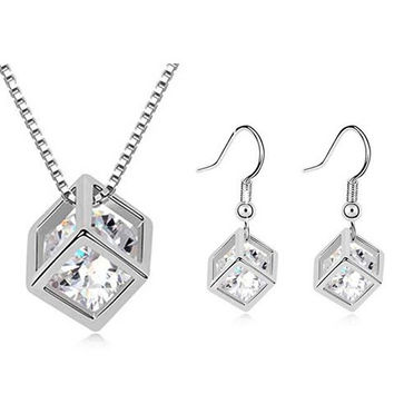 Silver Faux Crystal Rhinestone Cut Out Cube Shape Necklace and Earrings