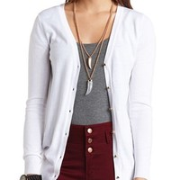 STUDDED BUTTON BOYFRIEND CARDIGAN
