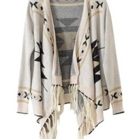 Beige Geometric Print Draped Cardigan with Fringe Trim