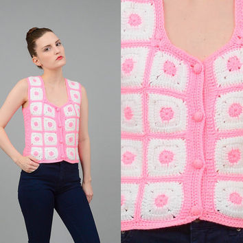 Vintage 70s Pink + White Crochet Knit Sweater Granny Square Vest Hippie Afghan Tank Top XS S