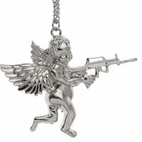 Fashion Silver Plated Angle Baby With Gun Stuff Pendant Necklace