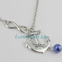 Silver anchor necklace blue pearl jewelry,infinity necklace,Pearl color is adjustable,Sailor necklace Kid Unisex jewelry Gift idea.