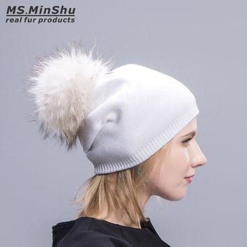 Ms.MinShu Cashmere Cap with Real Fur Pompom Unisix Beanies Fur Hat Winter Autumn Bobble Hat With Big Fox Fur Ball Fashion Cap