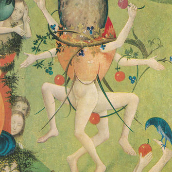 "Vintage Spanish Postcard -- Hieronymus Bosch ""The Delicious Garden"" (Fragment) -- 1971"
