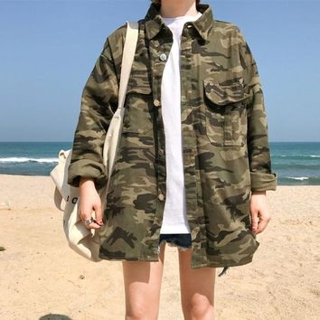 Summer pop big pocket tooling shirt Harajuku casual army green camouflage denim oversize Bomber Jacket Outerwear Womens
