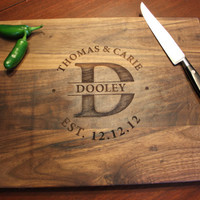 """Personalized Engraved Wood Cutting Board - Circle Monogram, Names and Date- Walnut Wood - 16"""" x 12"""""""