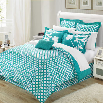 Chic Home Sire 7-Piece Comforter Set Queen Size, Turquoise; Bedskirt, Four Shams and Decorative Pillow Included