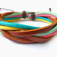 bangle leather bracelet women bracelet girl bracelet men bracelet woven bracelet made of leather and ropes woven cuff SH-0276