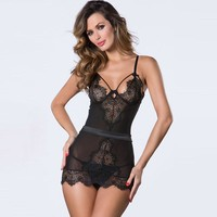 Sexy Spaghetti Strap Lace V Neck Hollow Out Sleep Dress