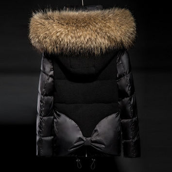 Soperwillton 2017 Luxury Large Raccoon Fur Hooded Coat Slim Puffer Jacket Thick Warm Outwear Padded Women Winter Coats #D999