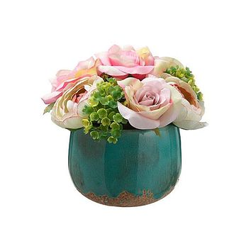 "Pink Rose & Hydrangea Silk Flower Arrangement - 6"" Tall"