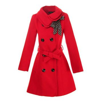 Hee Grand Women Wool Blends Coat Slim Trench Winter Coat Chinese M Red