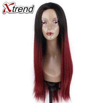 Xtrend 26'' Long Synthetic Straight Hair Wigs Black Burgundy Ombre kanekalon None Lace Wig Heat Resistant Cosplay Wigs For Women