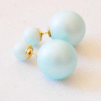Mat Light Blue Double Pearl Earrings Pair