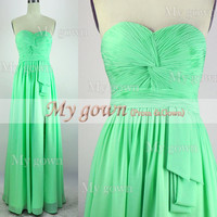 Strapless and Draped Floor Length Chiffon Prom Gown, Dresses, Bridesmaid Dresses, Wedding Dresses.
