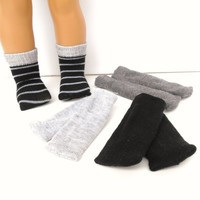 18 Inch Doll Socks, Set of 4 Pairs of Socks will fit American Girl Dolls, Black and Gray Striped, Light and Dark Gray and Black Socks