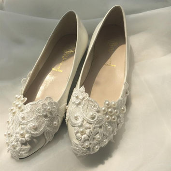 EUR Size 35-40 Casual Flat Ballet Women Red Bridal Pearl Lace Ladies Wedding Shoes Flats Bride Performance Shoes