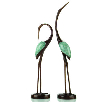 SPI Crane Song Pair Marble and Brass Sculpture