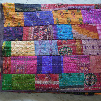 Indian Quilt -Vintage Quilt Old Patola Indian Silk Sari Kantha Quilted Patchwork Bedspreads,Throws,Ralli,Gudari Handmade Tapestery Bedding