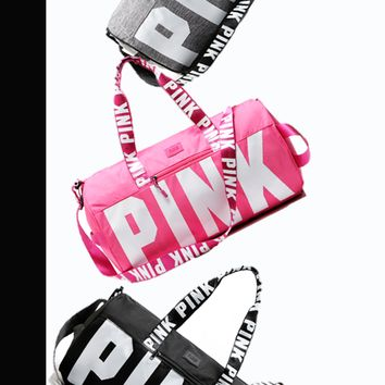 "Victoria's Secret ""Pink"" Letters Women Sports and fitness yoga with short travel bag B"