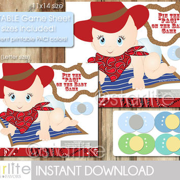 Baby Shower Game - Baby Cowboy Western theme - Pin the PACI on the Baby Game - Instant Download - PRINTABLE PDF Files - Diy - You Print