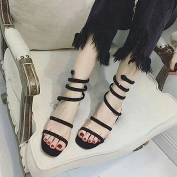 """Christian Louboutin"" Women Fashion All-match Rhinestone Snake Ankle Strap Block Heels Shoes Sandals"