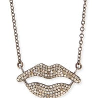 Pavé Diamond Lips Pendant Necklace