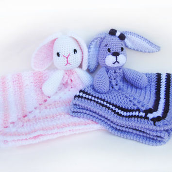 Baby Bunny Lovey CROCHET PATTERN instant download - blankey, blankie, security blanket, rabbit