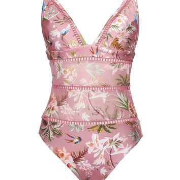Kyoto Pink Floral Print Detail Trim One Piece Swimsuit