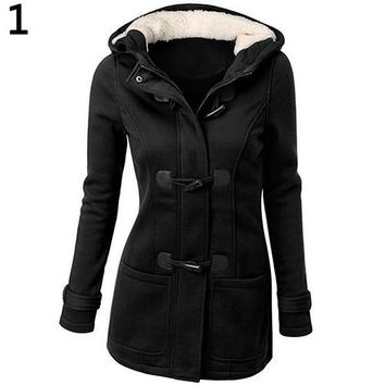 Women's Winter Warm Cotton Classic Style Jacket Coat Poket Casual Flocked Hooded Toggle Duffle Coat Jacket Outerwear