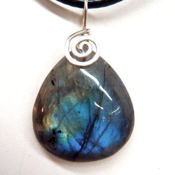 Labradorite Pendant Hammered Sterling Silver Spiral Natural Green Blue Gemstone Wire Wrapped Spectrolite Black Moonstone FREE SHIPPING