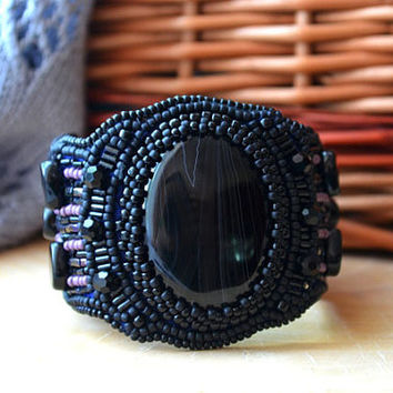 Bead Embroidery Black Purple Bracelet Beaded Bracelet Bead Embroidered Bracelet Beadwork Bracelet Seed Bead Bracelet Embroidered Jewelry