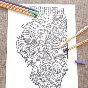 illinois colouring map kids adult coloring tourist map travelmap doodle book instant download decor printable print digital lasoffittadiste