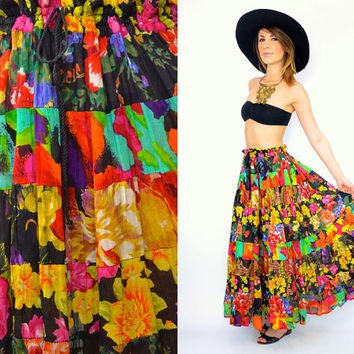 vintage 1990's multicolored TIERED FLORAL cotton gauze bohemian hippy festival full circle MAXI skirt, one size fits all