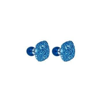 Made with Swarovski Crystal Double Stud Earring - Blue