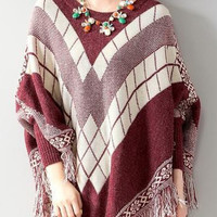 Burgundy Plaid Tasseled Poncho
